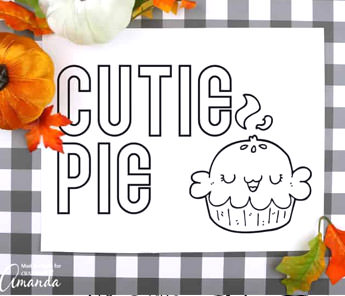 cutie pie thanksgiving coloring page