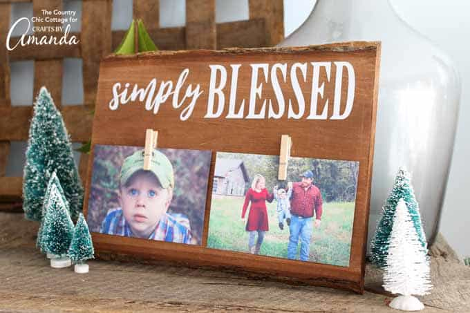 simply blessed wood frame with pictures for gift for mom