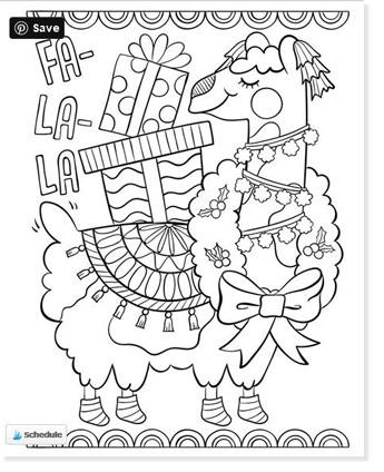 fa la la llama christmas coloring page with gifts on his back