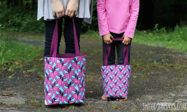 tote bags to sew tutorial with flamingos fabric.