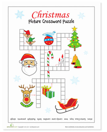 christmas crossword puzzle activity for kids