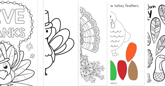 colage of free thanksgiving coloring pages
