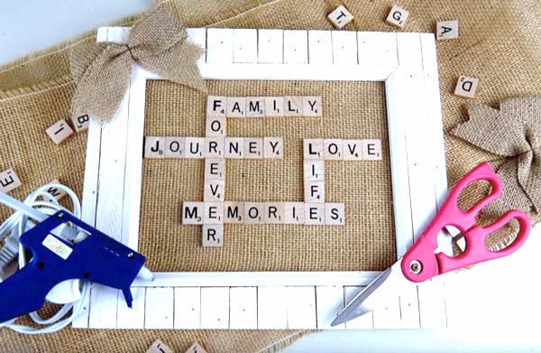 scrabble tile frame diy gift for mom