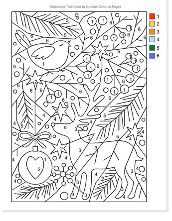 color by numbers with a deer and dove christmas coloring sheet printable
