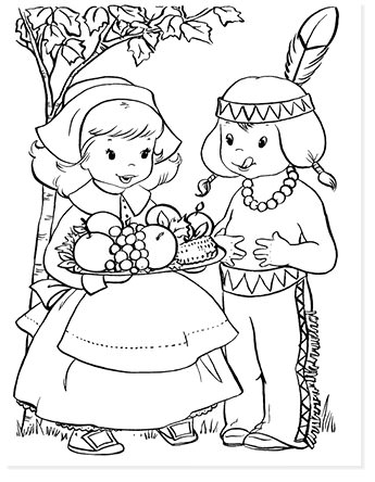 pilgrim girl and indian free coloring page for thanksgiving