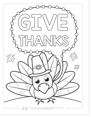 turkey coloring page with bubble with Give Thanks