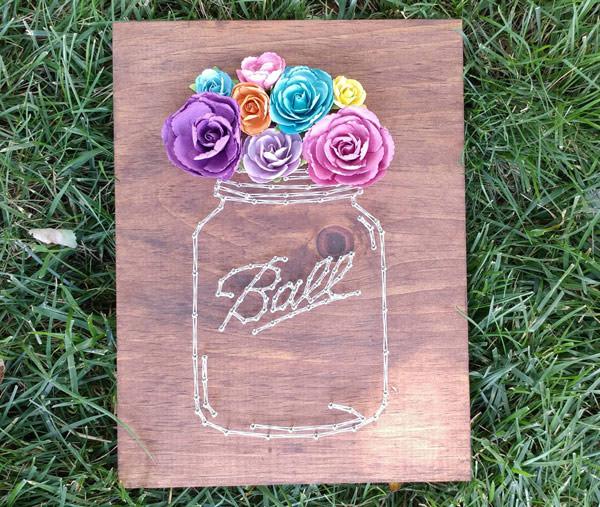 string art mason jar - diy gift for mom