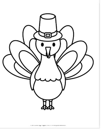 turkey with pilgrim hat coloring pages