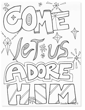 come let us adore him coloring lettering pages christmas