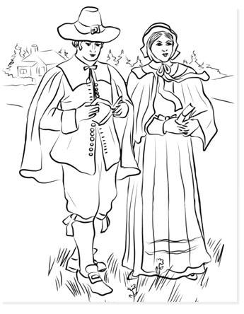 pilgrim boy and girl free coloring sheets