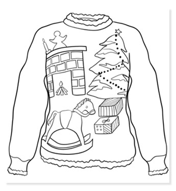 christmas sweater coloring page free