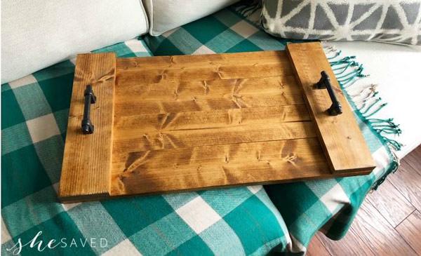 farmhouse wood tray diy on blanket