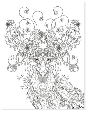 beautiful deer zentangle coloring page christmas