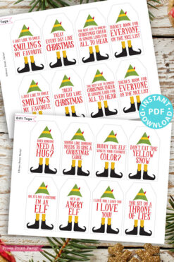 20 elf movie quotes christmas gift tags. Press Print Party!