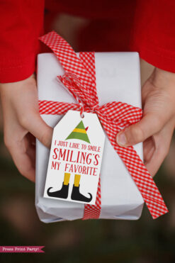 christmas gift with elf movie quote movie tags I just like to smile smiling's my favorite.