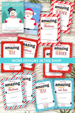 Amazon gift card holder for christmas Thank you card, thanks for being an amazing teacher, editable text, template instant download pdf, Press Print Party all designs