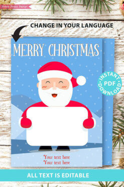 Christmas gift card holder generic with santa editable text merry christmast happy holidays Press Print Party