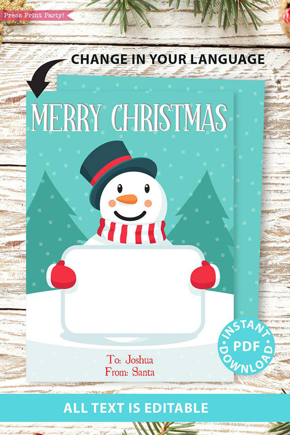 Christmas gift card holder generic with snowman editable text merry christmast happy holidays Press Print Party