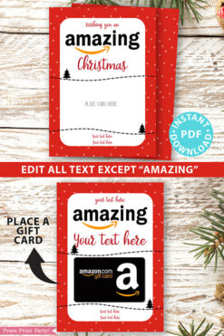 Amazon christmas gift card holder. wishing you an amazing christmas editable text red with dots Press Print Party