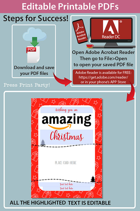 Amazon christmas gift card holder. wishing you an amazing christmas editable text red with gifts Press Print Party