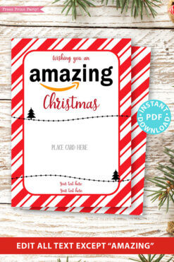 Amazon christmas gift card holder. wishing you an amazing christmas editable text red with stripes Press Print Party
