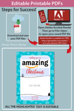 Amazon christmas gift card holder. wishing you an amazing christmas editable text blue with snowflakes Press Print Party