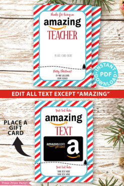 Amazon christmas gift card holder. wishing you an amazing christmas editable text blue and red stripes Press Print Party