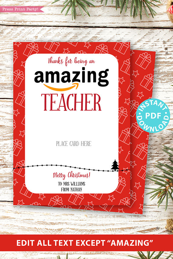 Amazon gift card holder for christmas Thank you card, thanks for being an amazing teacher, editable text, template instant download pdf, Press Print Party red gifts