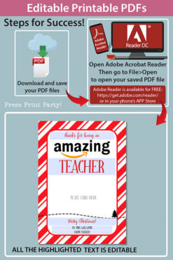 Amazon gift card holder for christmas Thank you card, thanks for being an amazing teacher, editable text, template instant download pdf, Press Print Party red stripes