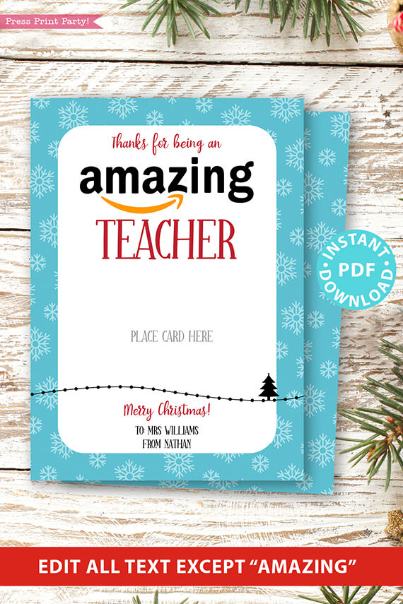 Amazon gift card holder for christmas Thank you card, thanks for being an amazing teacher, editable text, template instant download pdf, Press Print Party blue snowflakes