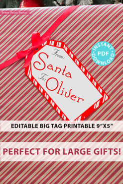 BIG Christmas Gift Tag From Santa, Red Stripes, Editable Printable Template, 9x5, Perfect For Big Gifts, Edit the text, INSTANT DOWNLOAD