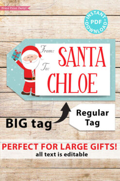 BIG Christmas Gift Tag From Santa, Red Blue Stripes, Editable Printable Template, 9x5, Perfect For Big Gifts, Edit text, INSTANT DOWNLOAD