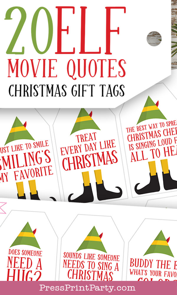 Elf movie quotes funny christmas gift tags printables