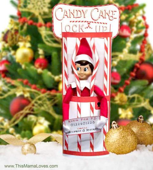 Candy cane lockup elf on the shelf
