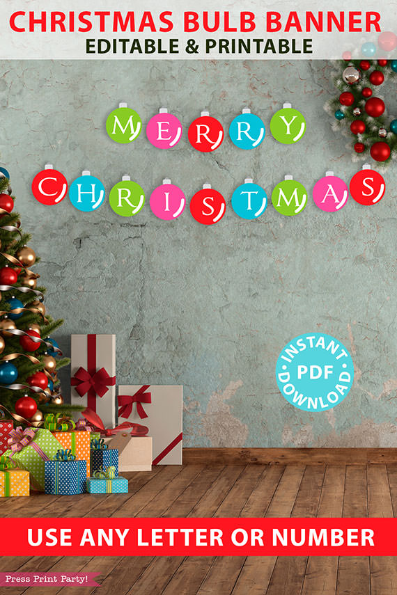 Christmas Banner Printable Garland, Colorful Ornament Banner for Mantle, Printable Christmas signs, Red, Green, Pink, Blue, INSTANT DOWNLOAD