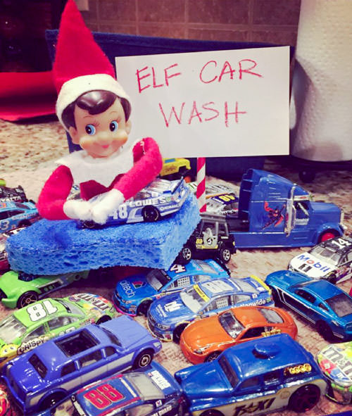 elf car wash with toy cars