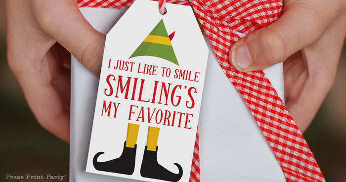 elf movie quote christmas tags printable press print party I just love to smile smiling's my favorite