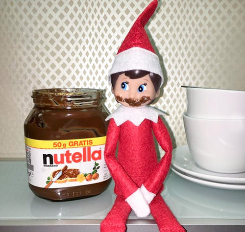 elf on the shelf idea with nutella mustache