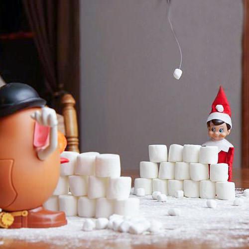 elf on the shelf idea snowball fight with mr potato head