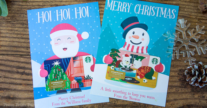 Christmas gift card holders with santa and snowman Press Print Party!