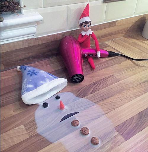funny elf on the shelf idea melted snowman