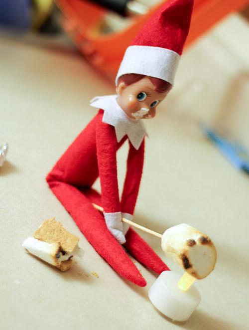 elf on the shelf roasting smores