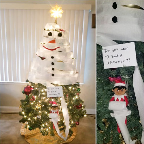 snowman toilet paper tree elf on the shelf idea