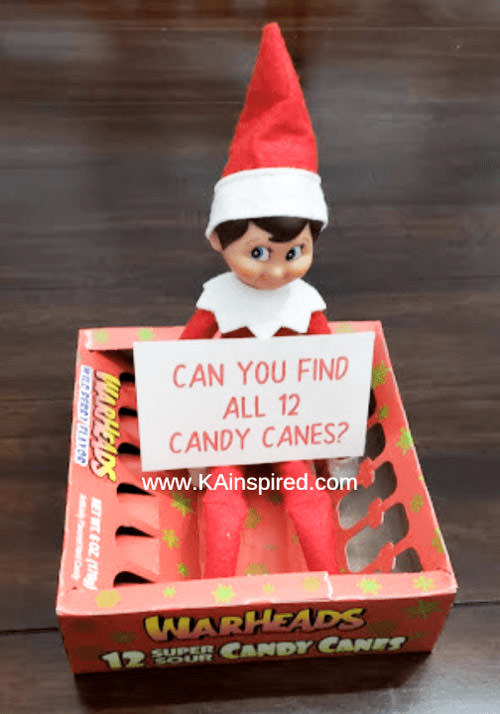 Can you find all 12 candy canes elf on the shelf idea
