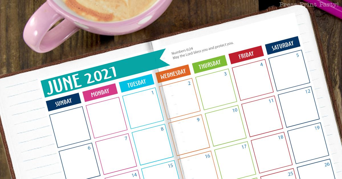 free 2021 calendar monthly for bullet journal and binders by Press Print Party, with verse