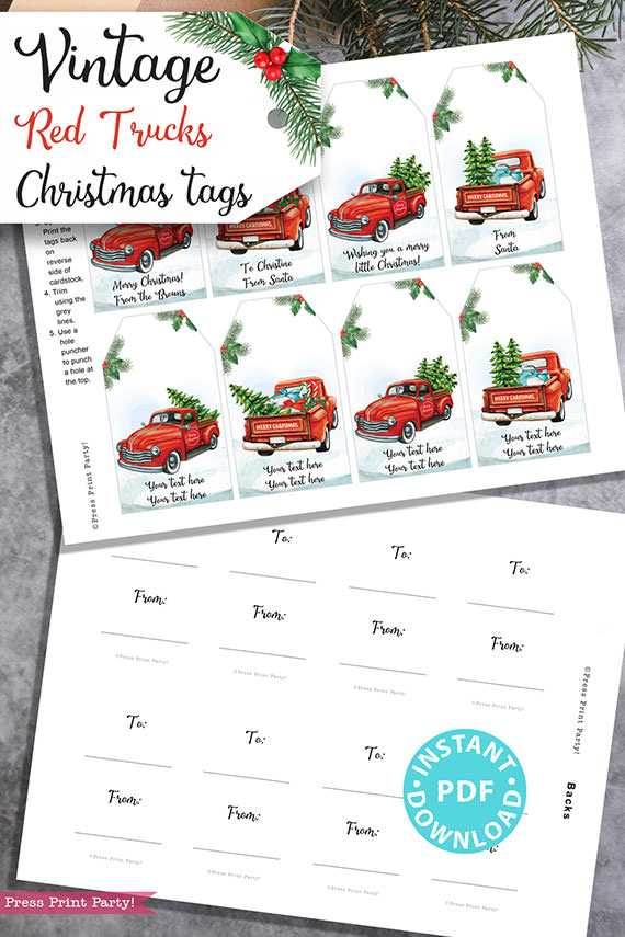 EDITABLE Christmas Red Truck Gift tags Printable, 4 designs, Rustic Style Gift Tags, Red Truck with Tree, Unique Gift Tags, INSTANT DOWNLOAD