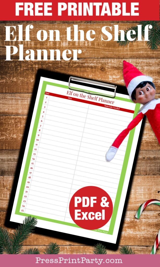 Elf on the shelf printable planner free printable pdf or excel for your ideas