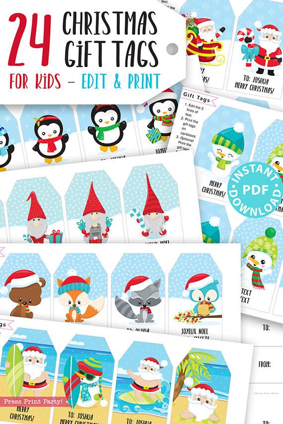 24 Kids Christmas Gift Tags Printable, Santa Claus, Snowman, Penguins, Woodland Animals, Beach Santa, Gnomes, Template, INSTANT DOWNLOAD