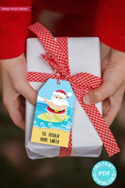 24 Kids Christmas Gift Tags Printable, Santa Claus, Snowman, Penguins, Woodland Animals, Beach Santa, Gnomes, Template, INSTANT DOWNLOAD beach santa