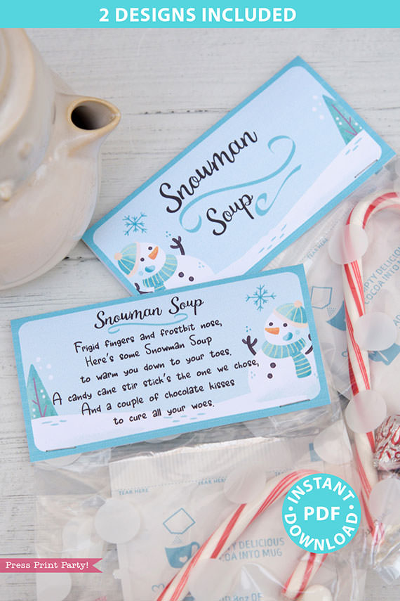 Snowman Soup Printable Treat Bag Topper Template, Editable w name, 2 poems included, Last Minute Stocking Stuffer idea, INSTANT DOWNLOAD